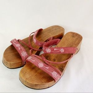 Women's Wooden Clunky Leather Strappy Sandals Sz 8